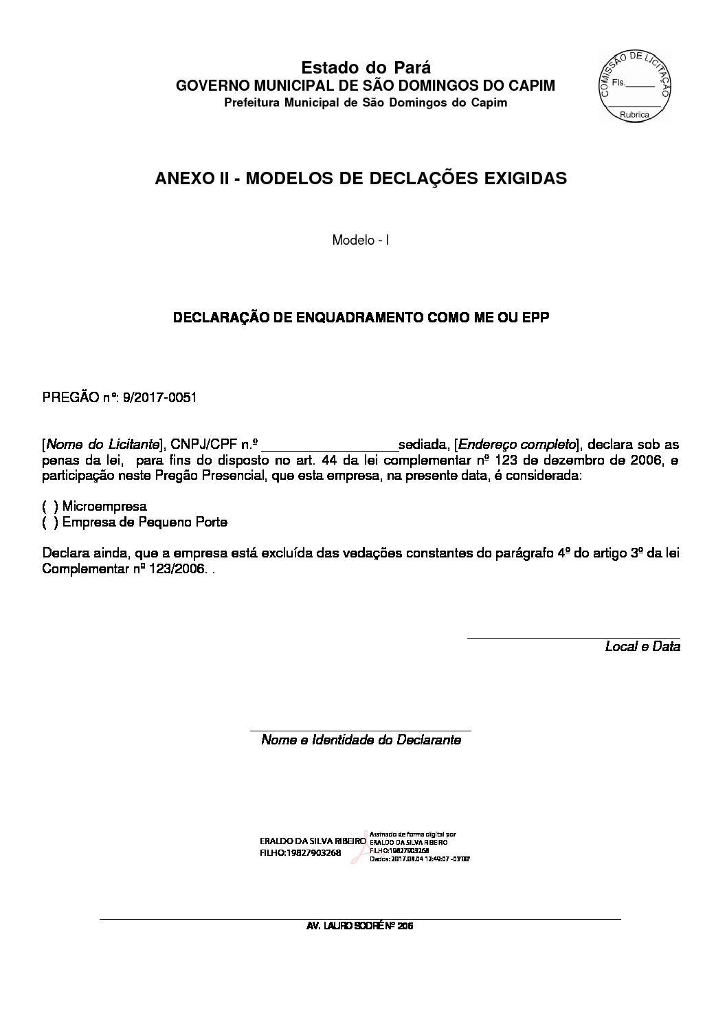 Modelo De Declarações Prefeitura Municipal De São Domingos